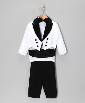 Black & White Five-Piece Tuxedo Set - Infant, Toddler & Boys
