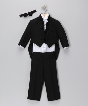 Black Mandarin Five-Piece Tuxedo Set - Infant, Toddler & Boys