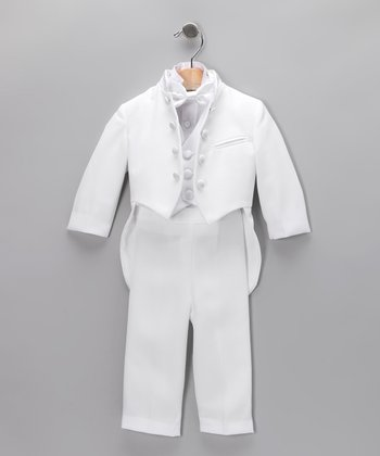 White Mandarin Four-Piece Tuxedo Set - Infant, Toddler & Boys