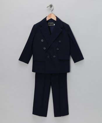 Navy Two-Piece Double-Breasted Suit Set - Boys