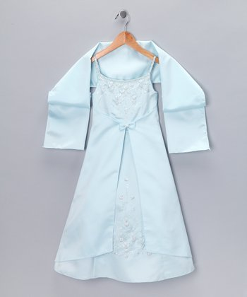 Light Blue Inverted V Dress & Shawl - Girls