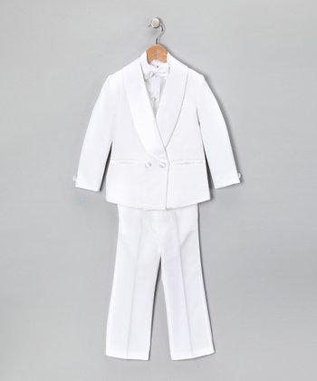 White Four-Piece Suit Set - Boys