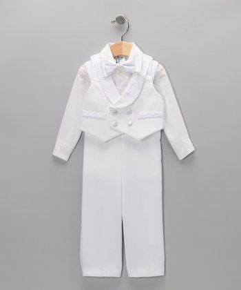 White Three-Piece Satin Vest Set - Infant & Toddler