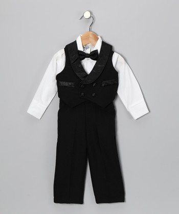 Black Four-Piece Vest Set - Infant