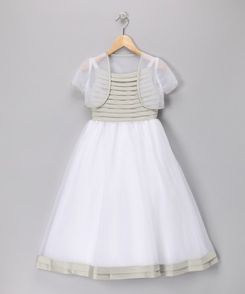 Sage Pleated Dress & Shrug - Girls