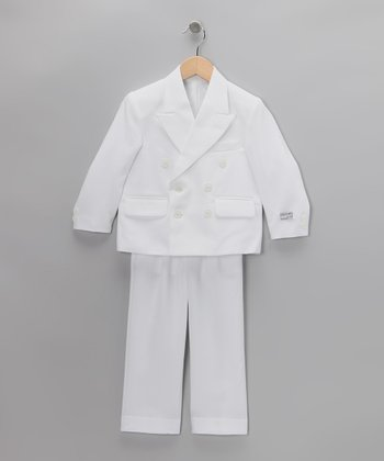 White Notched Collar Two-Piece Suit Set - Boys & Husky