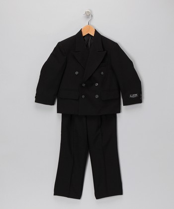 Black Notched Collar Two-Piece Suit Set - Husky