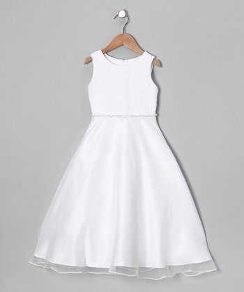 White Sequin A-Line Dress - Girls
