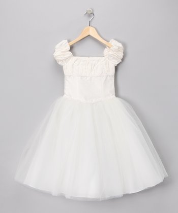White Cap-Sleeve Dress - Girls