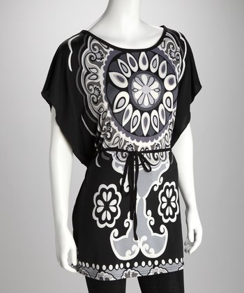 Black & White Mehndi Belted Tunic
