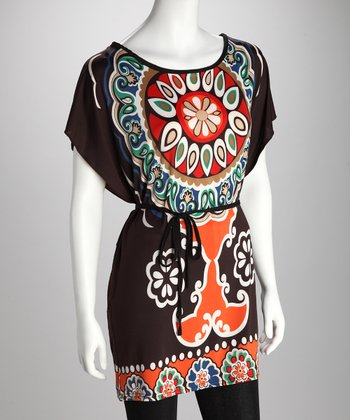 Brown & Aqua Mehndi Belted Tunic
