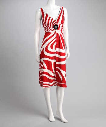 Red & White Abstract Stripe Dress