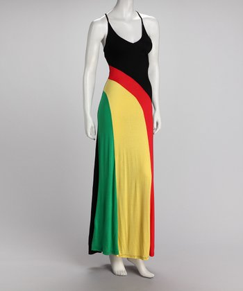Red & Yellow Stripe Maxi Dress - Women
