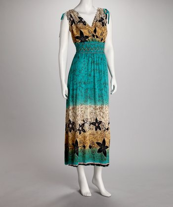 Turquoise Floral Smocked Maxi Dress - Women