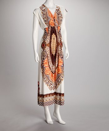 Ivory & Orange Abstract Surplice Maxi Dress