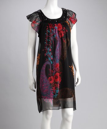 Black Floral Embellished Chiffon Dress - Women & Plus