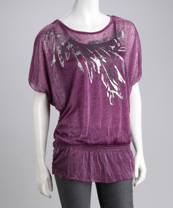 Purple Layered Peasant Top
