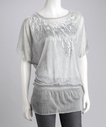 Silver Layered Peasant Top