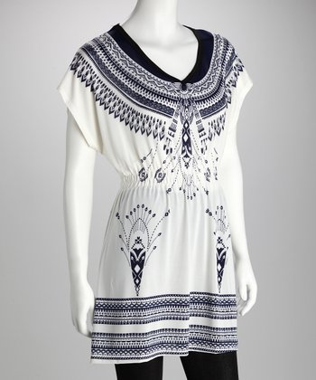 Ivory & Navy Banded Plus-Size Tunic