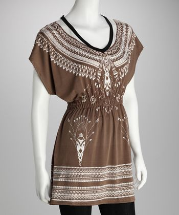 Mocha & White Banded Plus-Size Tunic
