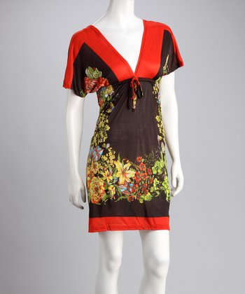 Orange Floral V-Neck Dress - Women