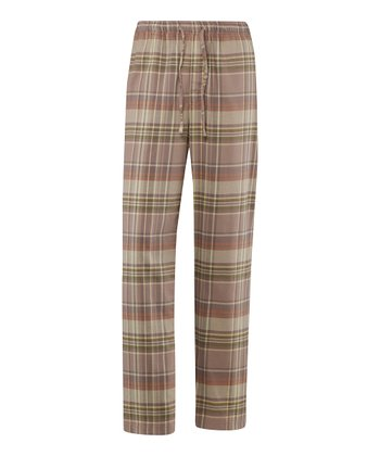 Simply Light Brown Plaid Pajama Pants - Men