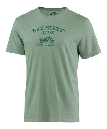 Pine Green 'Eat Sleep Ride' Short-Sleeve Sleep Tee - Men