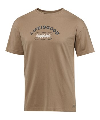 Simply Light Brown Football Lace Crusher Short-Sleeve Tee - Men