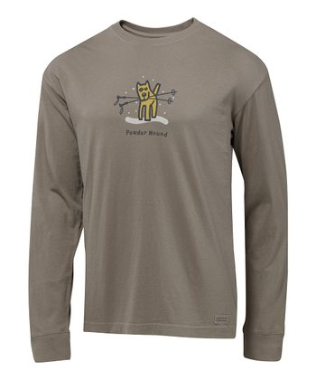Warm Gray 'Powder Hound' Crusher Long-Sleeve Tee - Men
