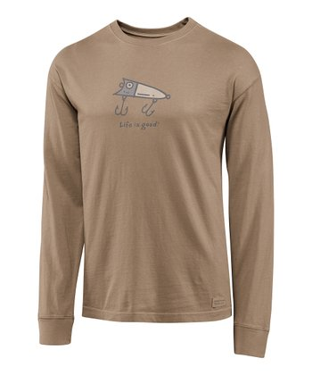 Simply Light Brown Fish Lure Crusher Long-Sleeve Tee - Men