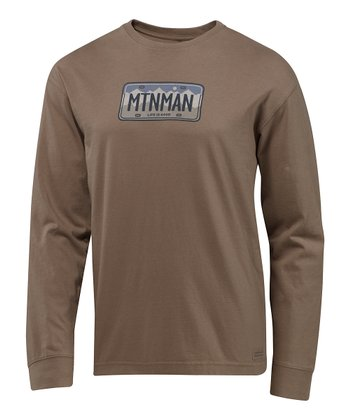 Dark Brown Mountain Man License Crusher Long-Sleeve Tee - Men