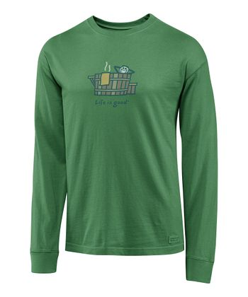 Spruce Green Rustic Hot Tub Crusher Long-Sleeve Tee - Men