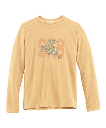 Classic Gold ' Sk8' Long-Sleeve Crusher Tee - Boys