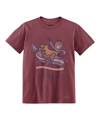 Burgundy Snow Tube Short-Sleeve Crusher Tee - Boys