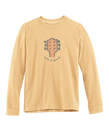 Classic Gold Guitar Long-Sleeve Crusher Tee - Boys