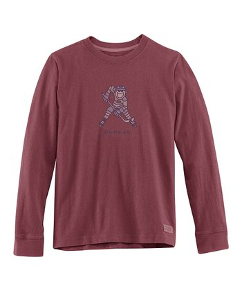 Burgundy 'Game On' Long-Sleeve Crusher Tee - Boys