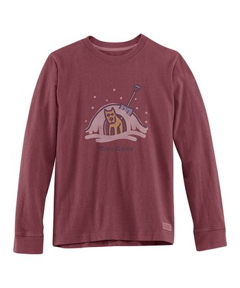 Burgundy 'Man Cave' Long-Sleeve Crusher Tee - Boys