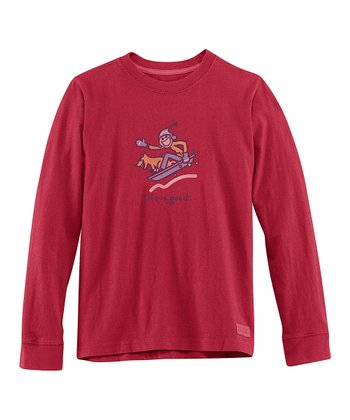 Red Sledding Long-Sleeve Crusher Tee - Boys