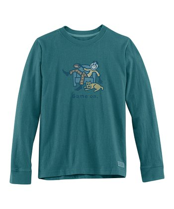 Spruce Green 'Game On' Long-Sleeve Crusher Tee - Boys