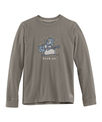Warm Gray 'Rock On' Long-Sleeve Crusher Tee - Boys
