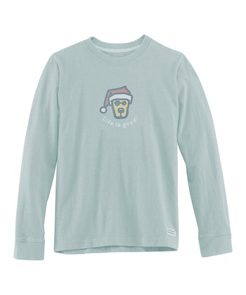 Foggy Blue Rocket Santa Long-Sleeve Crusher Tee - Boys