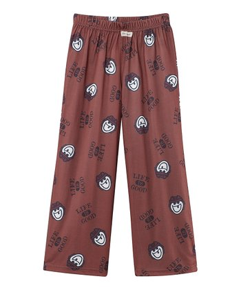 Burgundy Hockey Pajama Pants - Boys