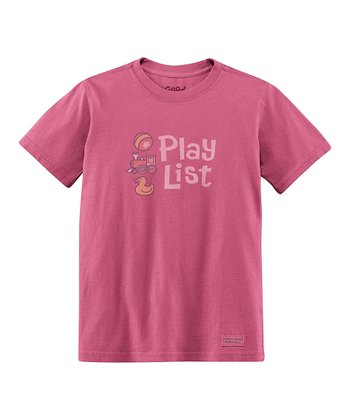 Dusty Pink 'Play List' Short-Sleeve Crusher Tee - Toddler
