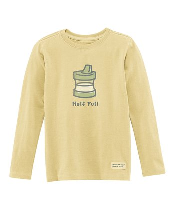 Yellow 'Half Full' Long-Sleeve Crusher Tee - Toddler