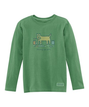 Green 'Young at Art' Long-Sleeve Crusher Tee - Toddler