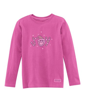 Magenta 'Joy' Long-Sleeve Crusher Tee - Toddler
