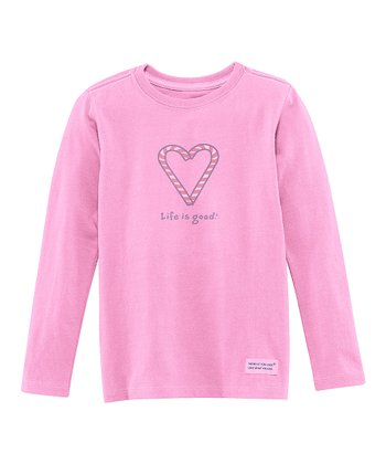 Peony Pink Candy Cane Heart Long-Sleeve Crusher Tee - Toddler
