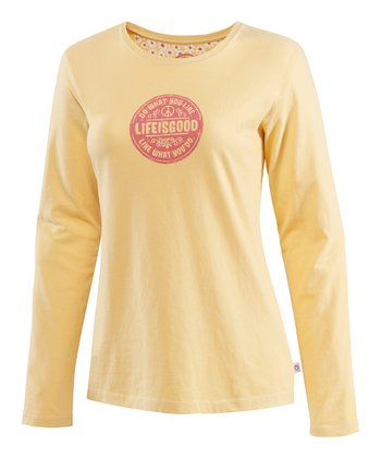 Yellow Daisy Creamy Long-Sleeve Tee - Women