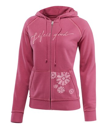 Dusty Pink Antique Bloom Zip-Up Hoodie - Women