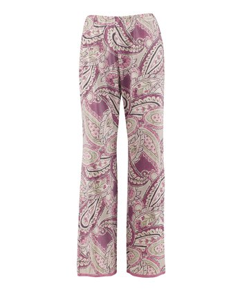 Plum Paisley Lace-Trim Pajama Pants - Women